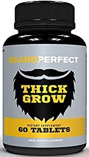 BEARDPERFECT Thick Grow - Get a Stronger, Longer, Thicker Beard - Beard Growth Formula for Men - with Biotin, MSM, Bamboo Silica and 20+ Elite Beard Building Vitamins and Nutrients! - 60 Tablets