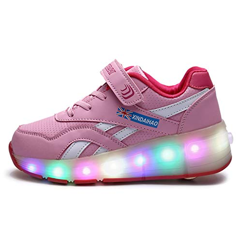WFSH Mädchen, Jungen und Kinder Einzelrad-LED-Blinken-Skateboard-Schuhe Rollschuhe Turnschuhe (Color : Pink, Size : 32)