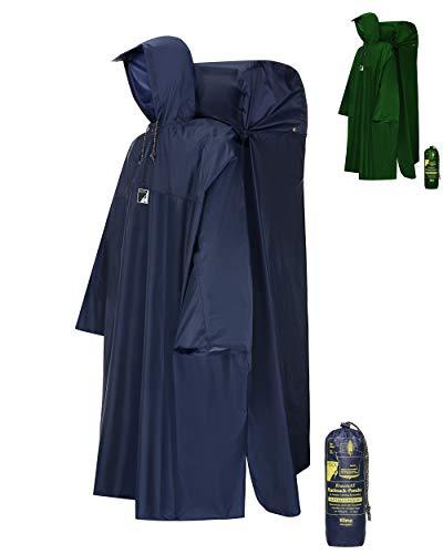 HOCK Regenponcho Wandern 'Kraxen AS' mit Regenschutz für großen Rucksack – Herren & Damen Regencape Atmungsaktiv mit Sturmhalteband für Wanderprofis – Extra Langer Wanderponcho mit verstellbarer Vorderlänge - Blau - XL