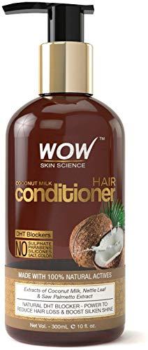 Glamorous Hub WOW Acondicionador de leche de coco sin parabenos, minerales, siliconas y color con bloqueadores de DHT, 300 ml (el empaque puede variar)
