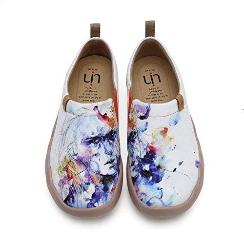 UIN Elfo Mocasín de Mujer Verano,Mocasín de Cuero Casual Diseñado Holgazán de Mujer Zapatos Comodos de Zapatos Mujer Lona 39