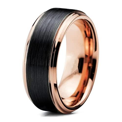 ZIYUYANGAnillo de bodas unisex de oro rosa de 8 mm y acero inoxidable 13 Negro