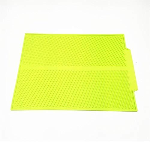 Silicone Tableau napperon résistant à la chaleur de séchage haut de gamme MatDish Coupe Pad Vaisselle Mat Arts de la table Accessoires de cuisine Lave-vaisselle (Color : Green, Size : Large)