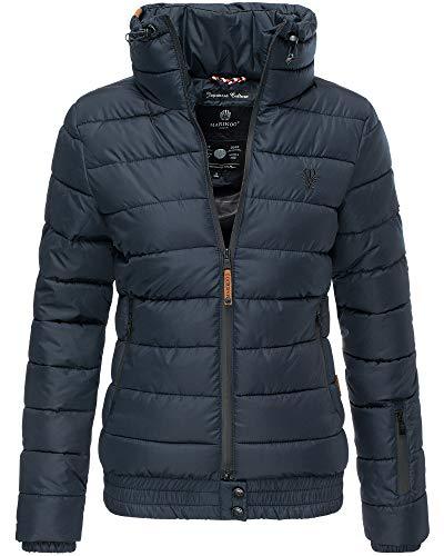 MARIKOO Jacke Damen Stepp Jacke Warm Outdoor Streetwear Fleecetaschen PSN133 (Small, Navy)