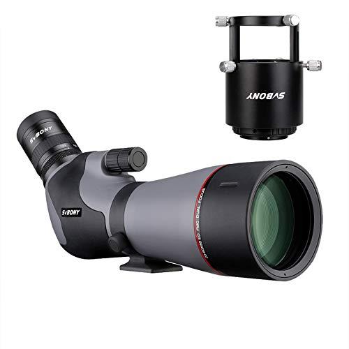 Svbony SV46P ED Telescopio Terrestre con Adaptador de Cámara Enfoque Dual, 20-60x80 HD Impermeable Prisma Porro con Recubrimiento Plateado Catalejos Spotting Scope (Compatible con Nikon)