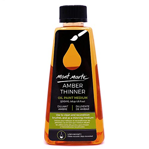 Mont Marte Premium Amber Thinner, 16.9oz (500ml), Low Odor Oil Paint Solvent, Water-Based, Low Viscosity, Water Mixable Medium