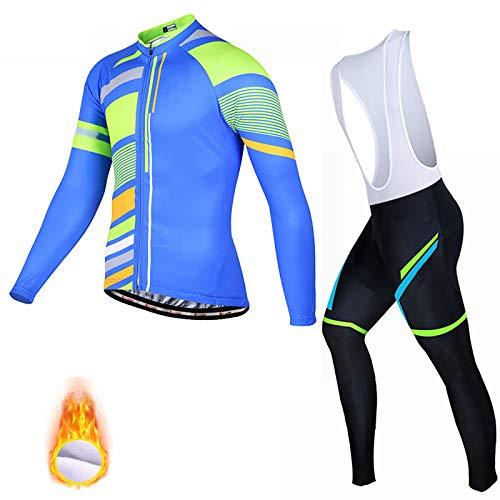 ZZD Combinaison de vêtements de Cyclisme à Manches Longues pour Hommes Vêtements de Cyclisme avec Pantalon à Bretelles en Coton Gel,Bleu,3XL