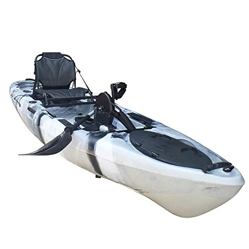 BKC PK11 Angler 10.5-Foot Sit On Top Solo Fishing Kayak w/Instant Reverse Pedal Drive, Hand Control Rudder, Paddle, and Upright Seat