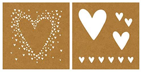 Rayher 45129000 Papier-Schablone Herzen, 2 Designs, 20,3 x 20,3 cm, 2 Stück, für stylische Muster auf Papier, Textil, Beton etc.