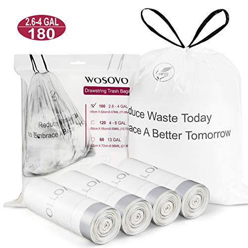 Small Trash Bags Drawstring 2.6-4 Gallon Eco-Friendly Kitchen Bathroom Bedroom Office Garbage Bags Unscented Wastebasket Bags Heavy Duty for Indoor Outdoor, 4 Rolls / 180 Count