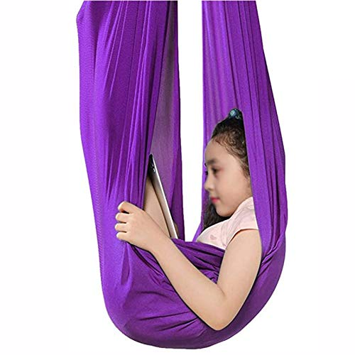 Sensory Swing Hammock Kids Indoor Swing Outdoor Hammock For Autism ADHD ADD CuddleUp Sensory Child Cotton Elastic Parcel Steady Seat Swings Chair Toy ( Color : Purple , Size : 150*280CM/59*110in )