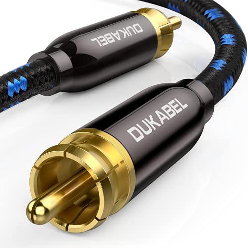 DuKabel Subwoofer Kabel Cinch auf Cinch Digitales Koaxial Kabel mit 6N OFC Mono Cinch Kabel für Zuhause Theater, HDTV, Subwoofer, AV Receiver, Hi-Fi Systems - HiFi Series 1.2M