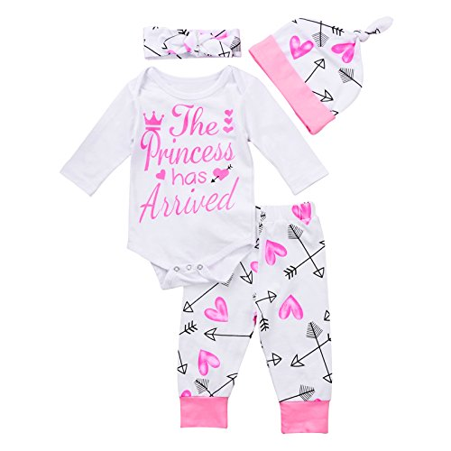 4 pcs Baby Girls Pants Set Newborn Infant Toddler Letter Romper Arrow Heart Pants Hats Headband Clothes Pink