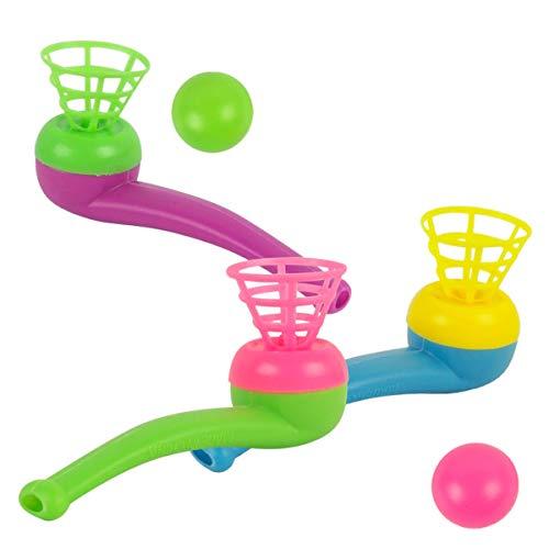 Toyvian Pipe Ball Toys 12 Piezas de plástico Bola Flotante de Juguete Classic Nostalgia Air Suspension Blowing Ball Party Game Blow Pipe para niños, niñas y niñas (Color Aleatorio)