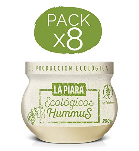 La Piara Hummus de Garbanzos Ecológico sin Gluten, Pack de 8 de 200 Gr