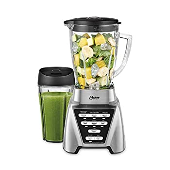 Oster Blender | Pro 1200 with Glass Jar 24-Ounce Smoothie Cup Brushed Nickel
