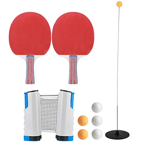 Find Discount Table Tennis Paddle Set, Portable Table Tennis Racket Set Table Tennis Retractable Net...