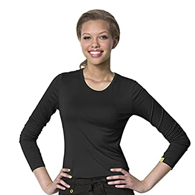 WonderWink Women's Scrubs Silky Long-Sleeve T-Shirt - X-Large - Black