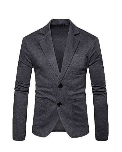 QitunC Herren Jackett Blazer Freizeit Slim Fit Jacken Knopf Anzugjacken Herbst Jacke Rauchfarben M