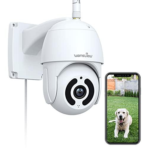 Caméra de Surveillance Extérieure Pan/Tilt, Wansview 1080P Caméra IP WiFi étanche avec Vision Nocturne, Audio Bidirectionnel, Détection de Mouvement, Stockage Micro Carte SD ou Cloud, Alexa W9