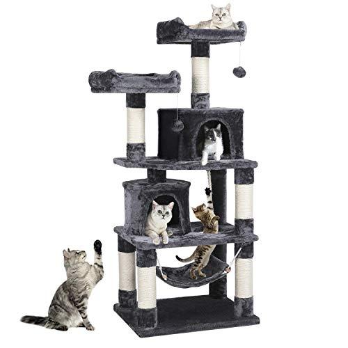Yaheetech Kratzbaum XXL Kletterbaum für Katzen mit 2 Katzenhäusern 2 Plattformen Katzenmöbel mit Hängematte Hellgrau 149 cmn Dunkelgrau