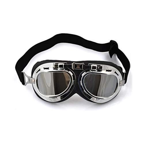 N\A Gafas de deporte al aire libre, estilo aviador, gafas de esquí, snowboard, patinaje, motos de nieve, anti-UV, gafas de sol retro volador piloto Jet casco gafas UV400 (color: chapado en plata)