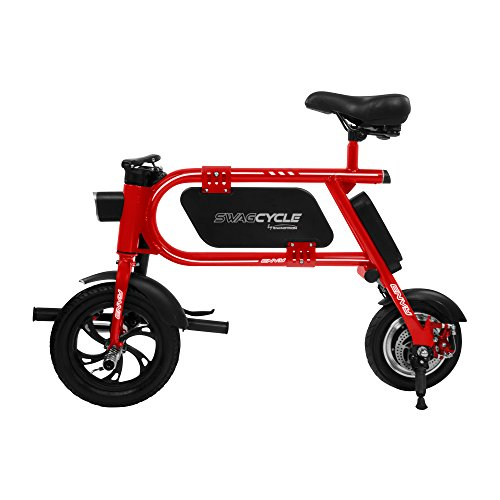 Swagtron 200W SWAGCYCLE Envy Steel Frame Folding Electric Bicycle e Bike w/Automatic Headlight – Reach 10 mph; 264 lbs Max Load - Red