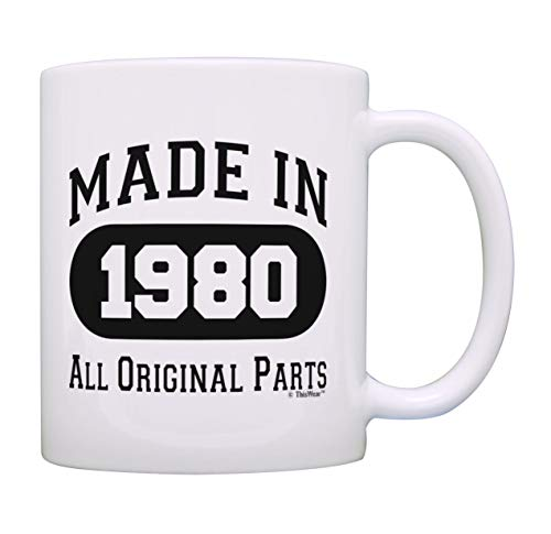 40th Birthday Gift Made 1980 40th Birthday Party Decorations Gift Coffee Mug Tea Cup White