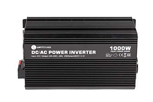 WATTSTUNDE WS12/1000SI Wechselrichter 12v auf 230v - 1000W / 2000W reiner Sinus Spannungswandler (1000)