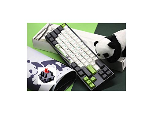 Varmilo Ergonomic Design,Cool Exterior White Backlit 68 Keys Type-C Cable Detachable Cherry Red Mechanical Gaming Keyboard for Office and Game, PBT Keycaps - Miya PRO Panda Verison