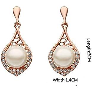 NqceKsrdfzn Women Pearl Diamond Earrings Elegant Hollow Lute Shape Earrings Water Drops Earrings(Rose Gold)