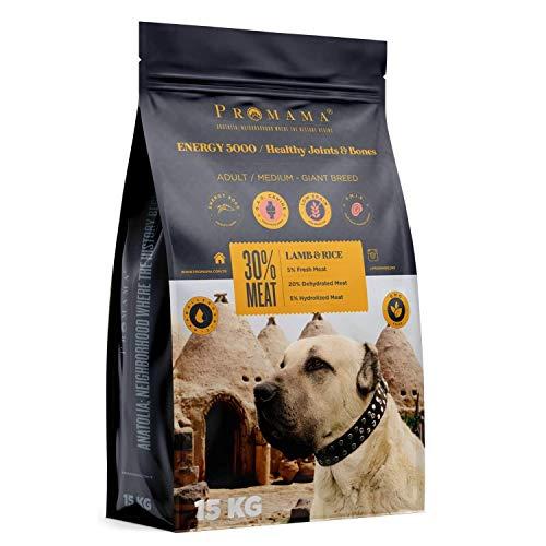 Promama Energy 5000 Healthy Joints & Bones cibo per cani sano | senza ingegneria genetica (GDO) | cibo secco per cani iper allergici | di alta qualità | ad alto contenuto di carne