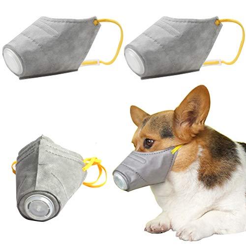 Fantye 3 Pack Dog Mouth Masks, Dog Muzzle Dog Mask Cover Adjustable Respirator Breathable Filter for Medium Small Dogs, Anti-bite, Anti-Barking