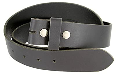 """One Piece Full Grain Buffalo Leather Replacement Belt Strap 1-1/2"""" wide (Black, 36)"""