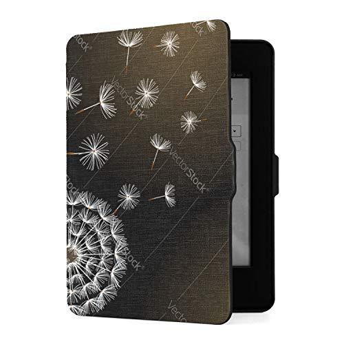 Funda para Kindle Paperwhite 1 2 3, Negra con Funda de Piel sintética Que sopla en Forma de Diente de león con función de Despertador automático Inteligente para Amazon Kindle Paperwhite (se Adapta a