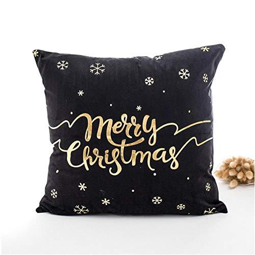 CSXM KissenbezugWeihnachtskissenbezug 45cmX45cm Weihnachtsdruck Weihnachtskissen Sofa Waist Throw Deko Home-C(2 Stück)