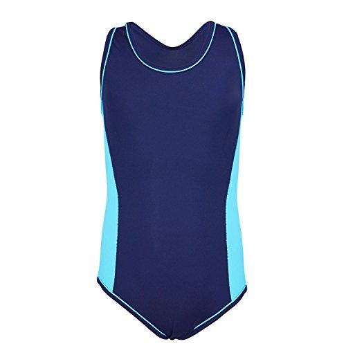 Aquarti Mädchen Badeanzug mit Racerback Sportlich, Farbe: Dunkelblau/Blau, Größe: 158