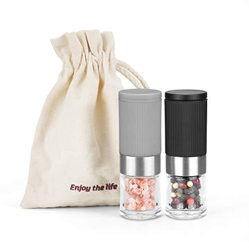 Mini-Salz- und Pfeffermühlen-Set, 2tlg kleine tragbare und verstellbare Keramik-salz und pfefferstreuer mini für Himalaya-Salz, geeignet für Küche, Camping, Geschenk für Valentinstag…