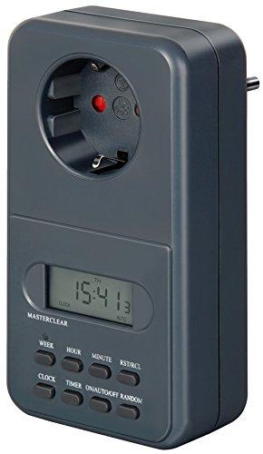 Brennenstuhl Digitale Wochenzeitschaltuhr / Digitale Timer-Steckdose (Wochen-Zeitschaltuhr für Innenbereich mit erhöhtem Berührungsschutz, Datenspeicher bei Stromausfall)