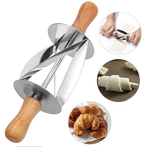 NBLYW Roestvrij Staal Croissant Roller Cutter, Plakt Perfect Gevormd Gebak Deeg voor het maken van Croissant Brood Deeg Gebak Keuken Bakgereedschap