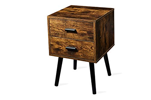 TianLang Nightstand with 2 Drawer,Industrial Side Table,End Table for Living Room,Stable Wooden Legs,Retro Brown LJET003A