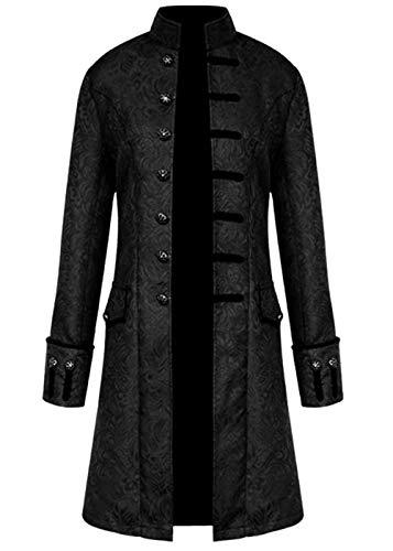 FuliMall Hombre Primavera y Otoño Abrigo, Chaqueta para Hombre, Cálido Botón Cortavientos de gabán Largo Outwear Abrigo Elegante Abrigos Retro