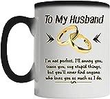 I'm Not Perfect Mug - Tazza magica che cambia colore, per marito, adatta per anniversario di matrimonio, compleanno e Natale