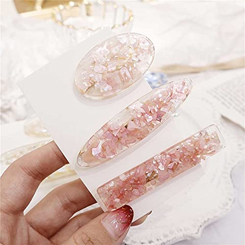 ZHUSHI 3 unids Horquillas para Mujeres Resina Brillante cáscara de Pelo Clips Elegante geométrico óvalo Horquillas de Temperamento Accesorios para el Cabello Pink