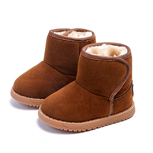 Botas Unisex de Nieve de Niñas Niños de Algodón Terciopelo Zapatos de Bebé Invierno Botines Niña Acogedor Botines Infantiles Simple Suela de Goma Primeros Pasos Zapatos (25, Marron)
