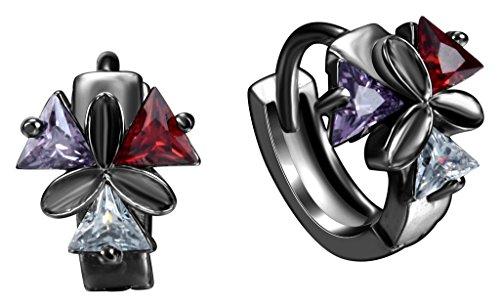 Bigood Boucle d'Oreille Triangle Acier Bijoux Strass Cadeau Fête Vogue Rouge