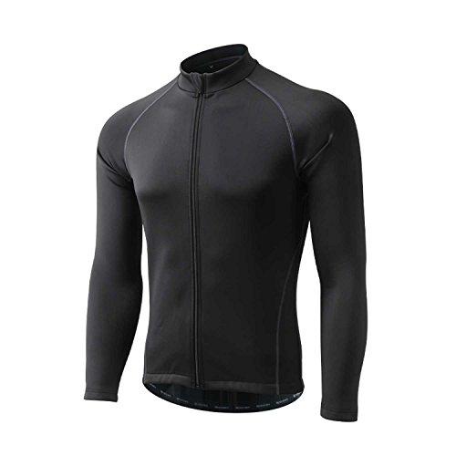 DuShow Men Winter Cycling Jacket Fleece Thermal Windproof Waterproof Bicycle Coat Running Jacket (Black,XXL)