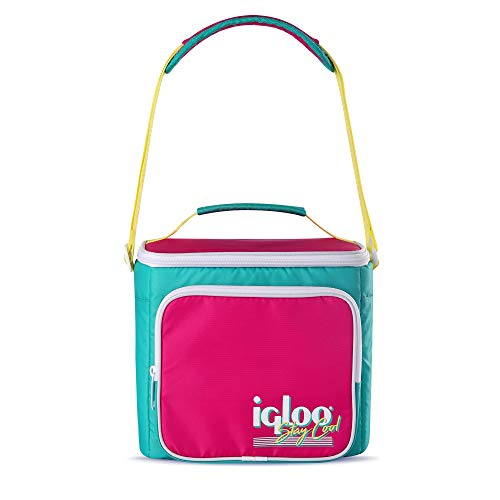 Igloo 90s Retro Collection Portable Square Neon Lunch Box Soft Side Cooler with Carry Handle and Adjustable Strap, Multicolored