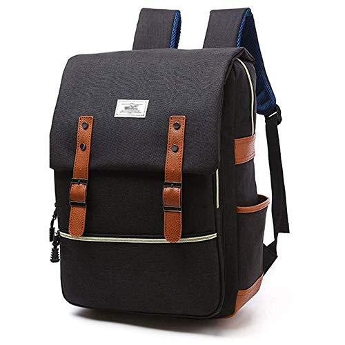 HITOP Leichte Schulrucksack Nette Canvas Schultaschen Damen Mädchen EXTRA Groß Kinderrucksack Daypacks Rucksäcke Modische mit Laptop Fach (Schwarz)