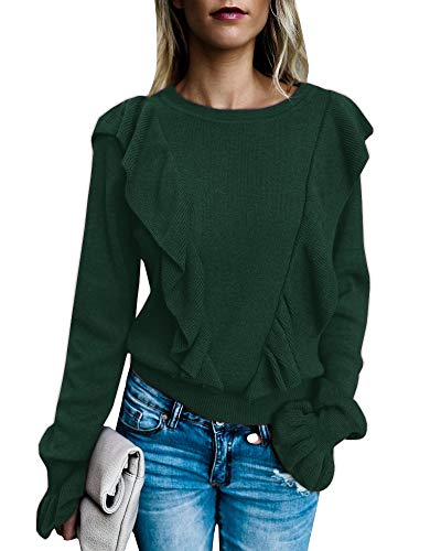 Valphsio Women's Long Sleeve Rib Ruffle Front Sweater Crewneck Puff Shirt Pullover Cute Tops (Medium, Green)